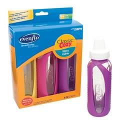 Evenflo Cozy Glass w/Sleeve Bottle 3pk- 8oz - Yellow/Pink/Purple