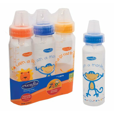 Evenflo Zoo Friends Decorated BPA FREE Bottles- 8oz - 3pk - GIRL COLOROS