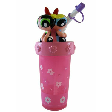 Cartoon Network Powerpuff Girls Bottle - Powerpuff Girls sipping Bottle