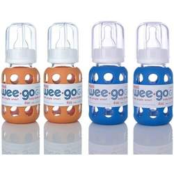 Lifefactory BPA-Free Glass Baby Bottle-4 pack (4 oz.-Orange and Ocean)