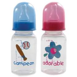 4-ounce BPA Free Medium Flow Printed Spanish Baby Bottle, Blue