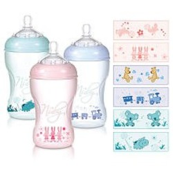 Nuby 3 Pack BPA Free Natural Touch Printed Bottles - 10 oz. - boy colors