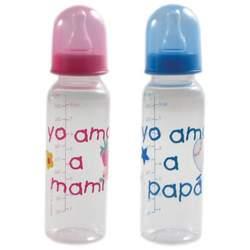 9 oz. BPA Free Medium Flow Spanish Printed Bottle (Silicone Nipple), Blue