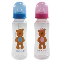 9-oz. BPA Free Medium Flow Hourglass Baby Bottle (silicone nipple), Blue