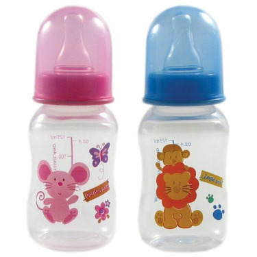 4-oz. BPA Free Hourglass Baby Bottle (silicone nipple), Blue