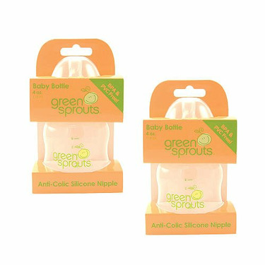 I-Play Green Sprouts 4 oz Feeding Bottle 2 Pack Pink and Orange
