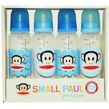 Paul Frank Small Paul 4 (8 OZ.) Baby Bottle Set Pink or Blue No Bisphenol - A and Phthalates (PINK)