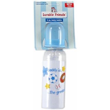 9-oz. BPA Free Baby Bottle (medium flow silicone nipple), Blue - Daddy
