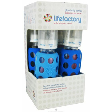 Lifefactory - Glass Baby Bottle With Silicone Sleeve Starter Kit Sky Blue/Ocean Blue
