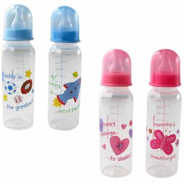9-oz. BPA Free Baby Bottle (medium flow silicone nipple), Pink - Daddy