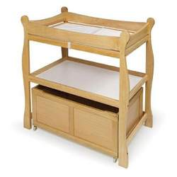 Natural Sleigh-Style Changing Table with Rolling Storage Cart