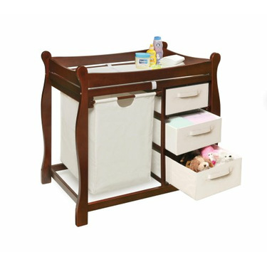 Badger Basket Company Sleigh Style Changing Table with Hamper/3 Baskets in Cherry