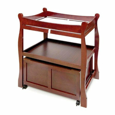 Changing Table with Lower Storage Cart - Cherry