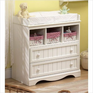 Country Style Pure White Finish Changing table