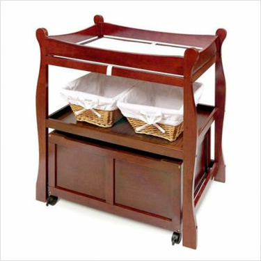 Sleigh Changing Table with Cart - Cherry