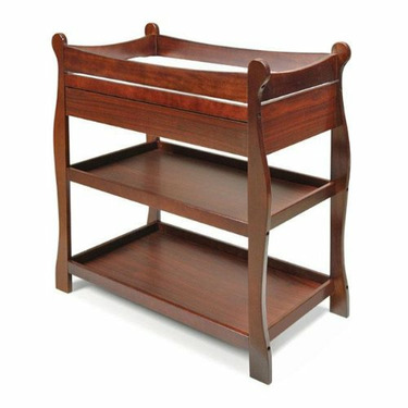 Sleigh Changing Table with Drawer - Cherry