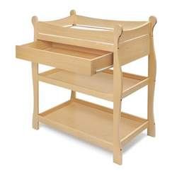 Sleigh-Style Changing Table with Drawers - Natural