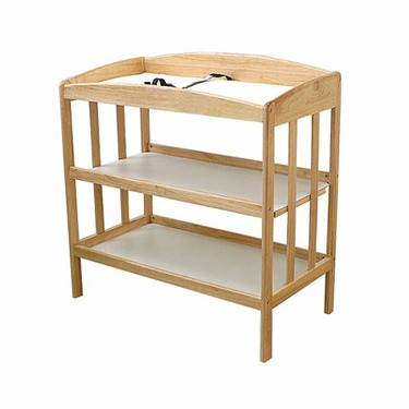LA Baby 3 Shelf Wooden Changing Table, Natural