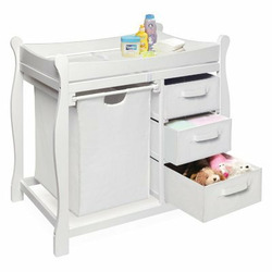 Badger Basket Sleigh Changing Table with Hamper and Drawers - BGR058