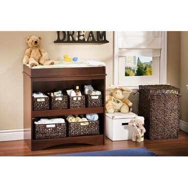 Contemporary Royal Cherry Finish Baby Changing Table