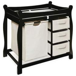 Badger Basket Sleigh Changing Table with Hamper and Drawers Black - BGR058-5