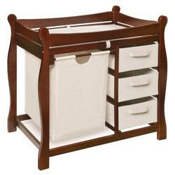 Badger Basket Sleigh Changing Table with Hamper and Drawers Cherry - BGR058-1