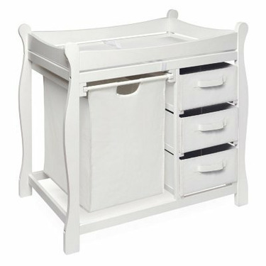 Badger Basket Sleigh Changing Table with Hamper and Drawers White - BGR058-2