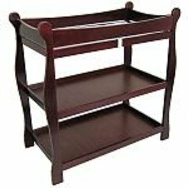 Badger Basket Cherry Sleigh Style Changing Table w/ Lower Storage Bin