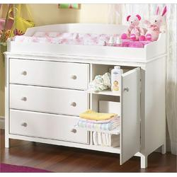 Pure White Three Drawer Changing Table