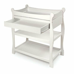 Sleigh Changing Table with Drawer - White
