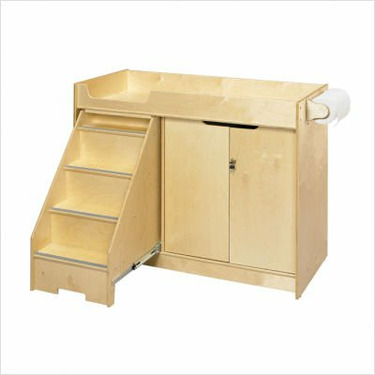 Cubbie Changing Table with Stairs in Natural