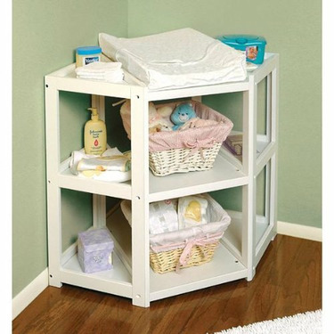 Diaper Corner Changing Table - White