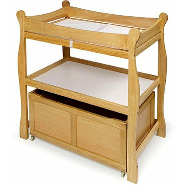 Badger Basket Sleigh Style Changing Table with Lower Storage Bin