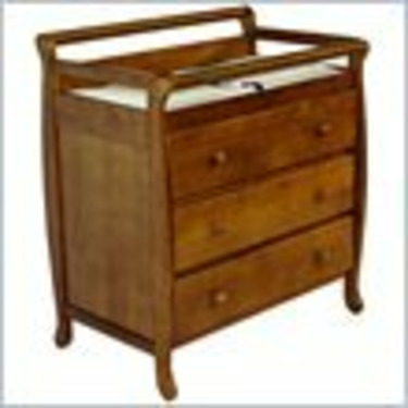 Dream On Me Liberty Solid Wood 3 Drawer Changing Table in Pecan