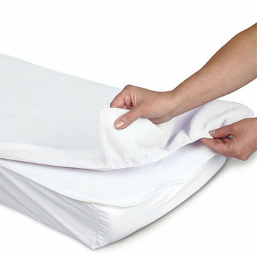 Cotton Terry Flat Changing Table Cover - White