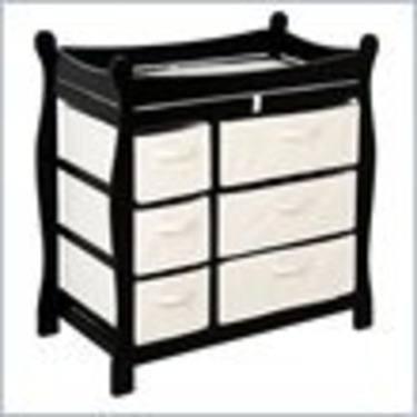 Badger Basket Sleigh Style Wood Baby Changing Table with Baskets in Black
