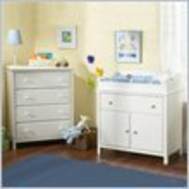 South Shore Cotton Candy 4 Drawer Chest and Compact Changing Table Set in Pure White Finish