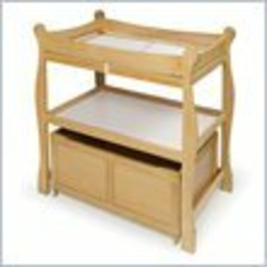 Badger Basket Wood Changing Table with Lower Storage Cart in Natural