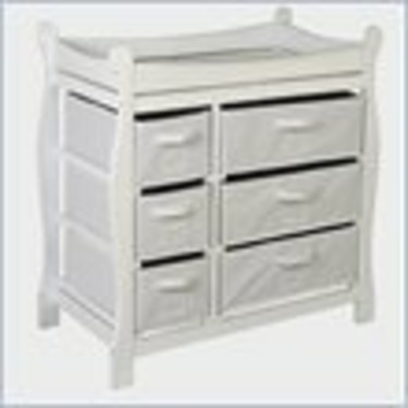 Badger Basket Sleigh Style Wood Baby Changing Table with Baskets in White