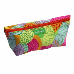 Ambajam Medium Fabric Cosmetic Bag, Mille Fleur with Orange Zipper