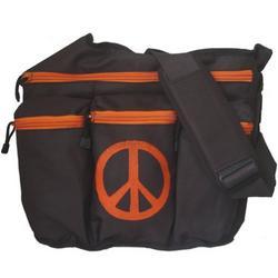 Diaper Dude Brown and Orange Messener Diaper Bag with Peace Sign