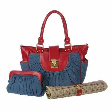 Designer Denim & Cherry Leather Unisex Baby Diaper Bag, Diaper Tote - Best Selling Gift for New Mom's