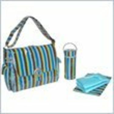 Kalencom Laminated Buckle Bag - Monkey Stripes - Blue