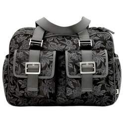 Black Floral Jacquard Carry All Diaper Bag With Acacia Trim