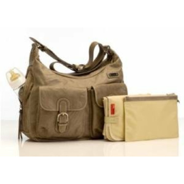 Storksak Emily Leather Taupe Diaper Bag
