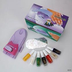 DIY Nail Art Design Printing Stamp Stamper Machine Kit 7 Colors