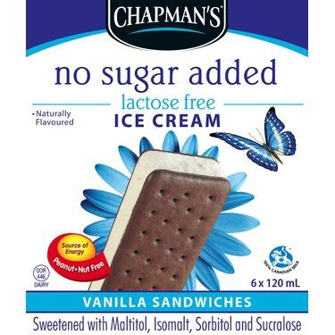 Chapman's No Sugar Added Lactose Free Ice Cream Vanilla Sandwiches