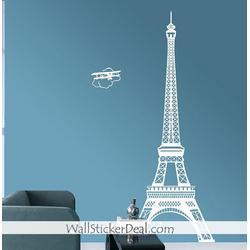 Paris Eiffel Tower with Plane Wall Sticker