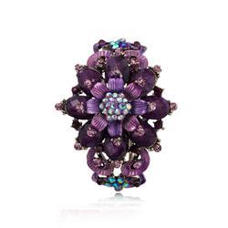 Amethyst Vintage Flower Hinged Cuff Bracelet