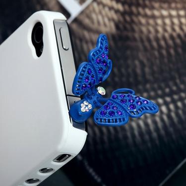Blue Butterfly Headphone Jack Plug Charm